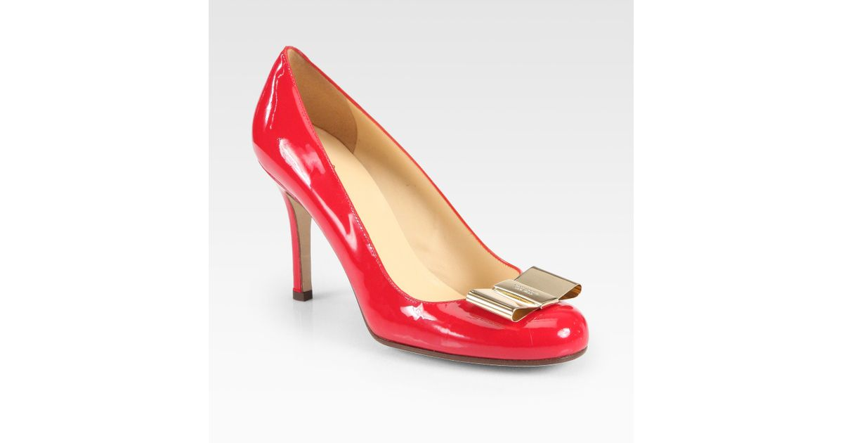 80ca4ae23cd Lyst - Kate Spade Karolina Bow Patent Leather Pumps in Red