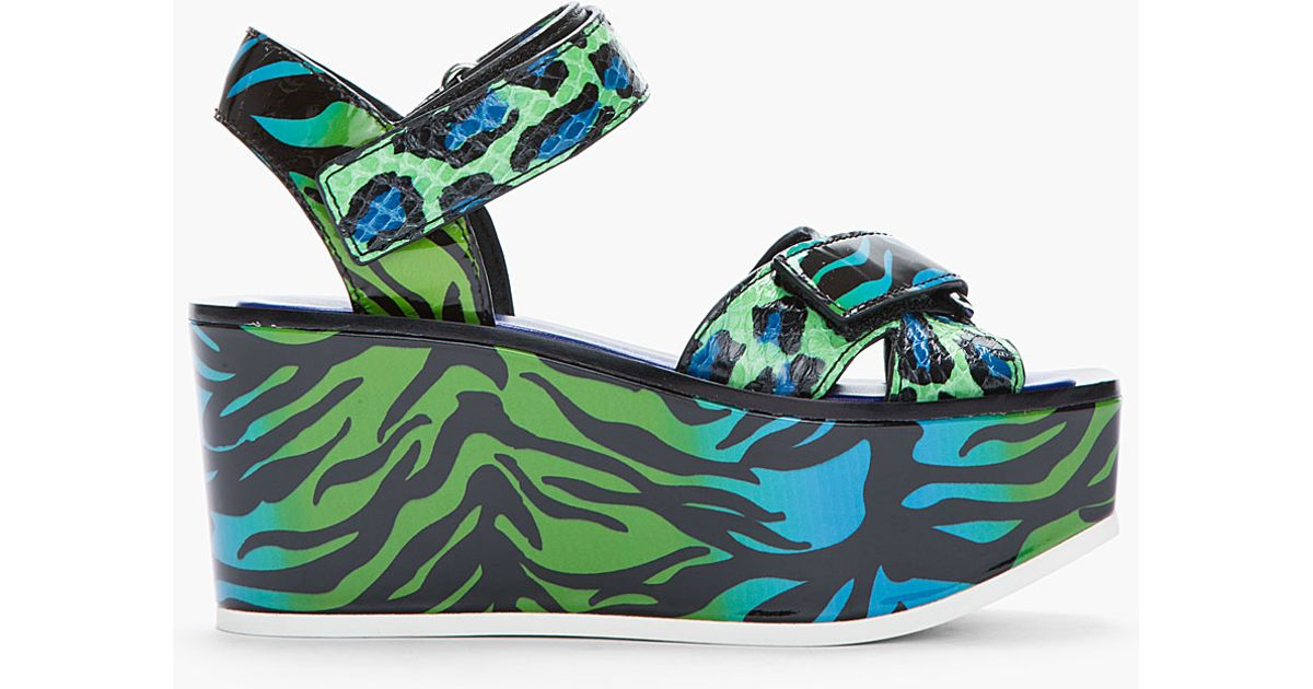 0ed051ad3b82 Lyst - KENZO Blue Green Animal Printed Leather Flore Platform Sandals in  Green