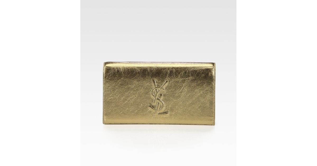 137794828187 Lyst - Saint Laurent Belle De Jour Metallic Leather Clutch in Metallic
