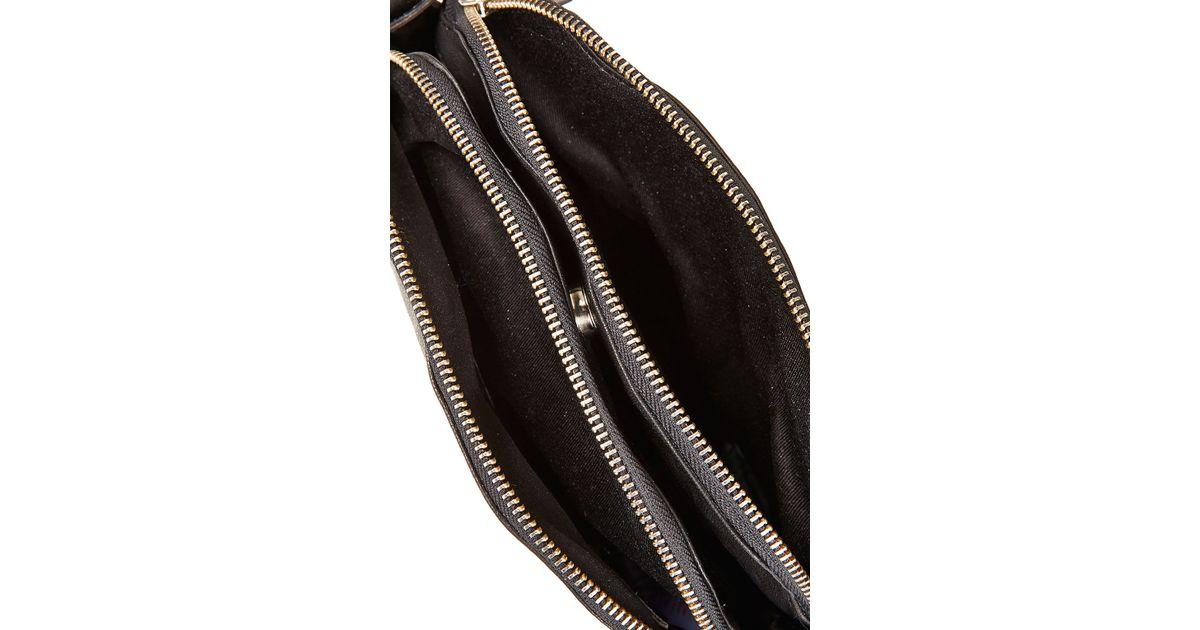 Lyst - TOPSHOP Double Zip Crossbody Bag in Black