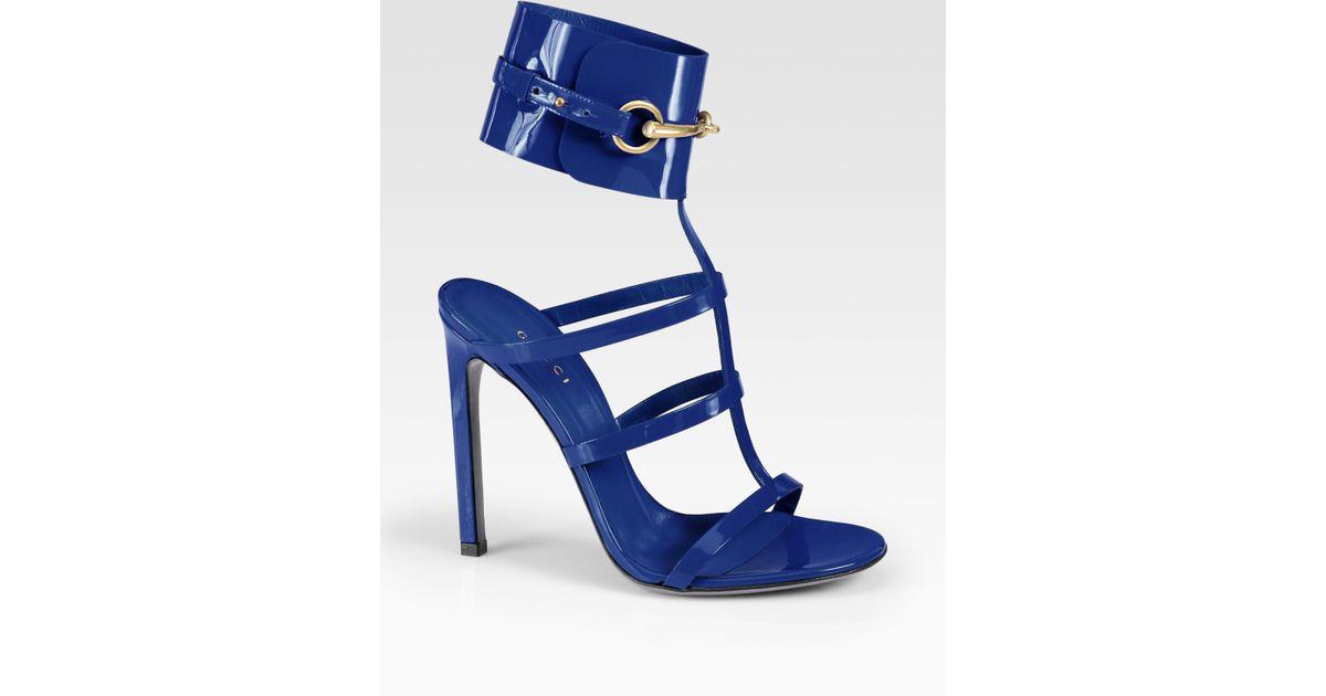 cbd4cdcd0ae4 Lyst - Gucci Ursula Patent Leather Horsebit Ankle Strap Sandals in Blue