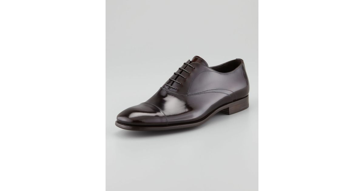 72dfef858159 Lyst - Prada Spazzolato Captoe Laceup Dark Brown in Brown for Men