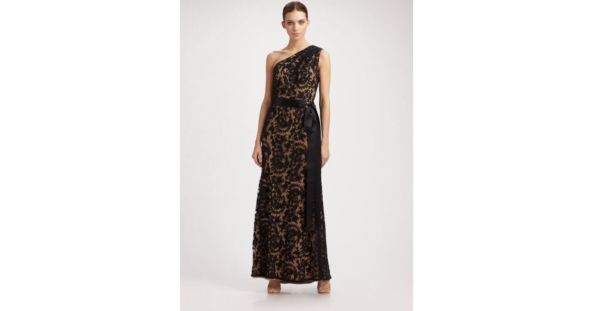 Lyst - Tadashi Shoji One Shoulder Embroidered Lace Gown in Black