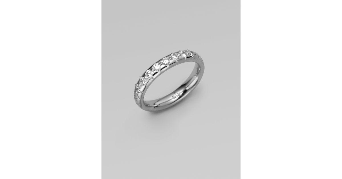 Lyst Gucci 18k White Gold Diamond Ring in Metallic