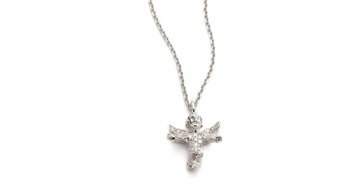 Lyst kc designs diamond guardian angel pendant necklace in white aloadofball Image collections