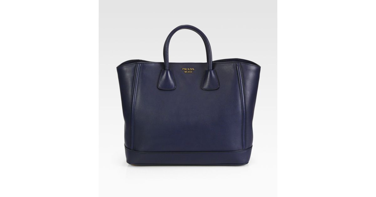 Prada Large City Calf Double Handle Tote in Black (baltico-navy ...