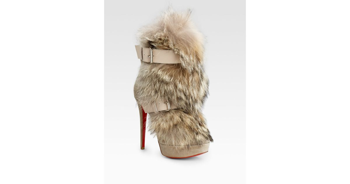 e0de809de01a Lyst - Christian Louboutin Toundra Coyote-fur Trimmed Suede Ankle Boots in  Natural