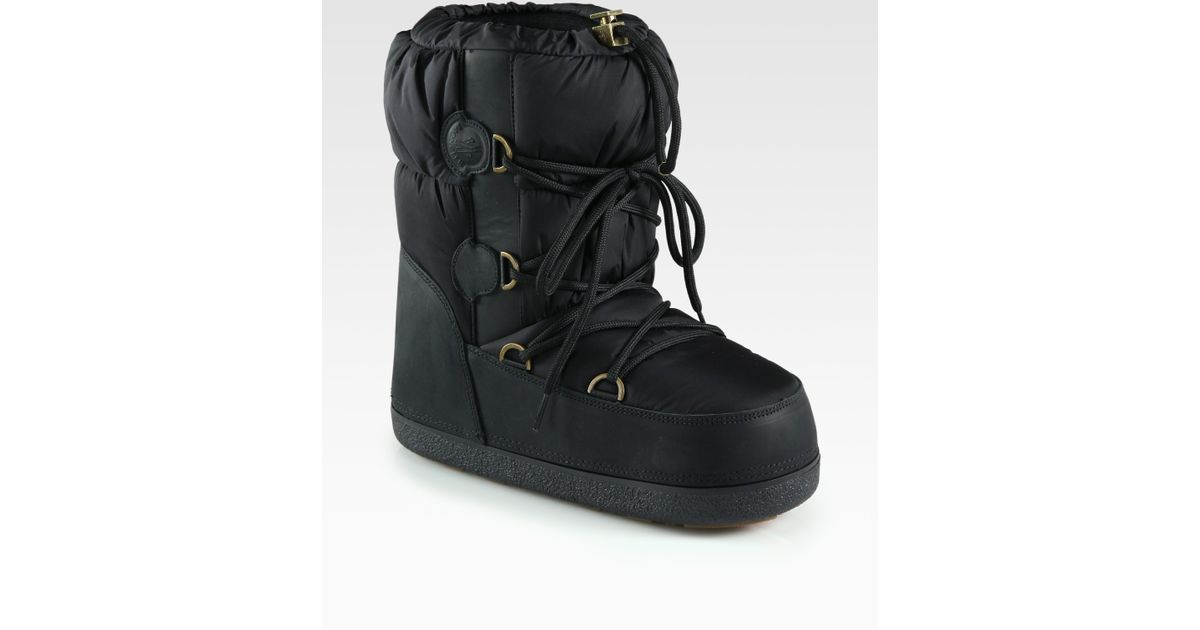 Moncler Nylon Leather Laceup Moon Boots in Black | Lyst