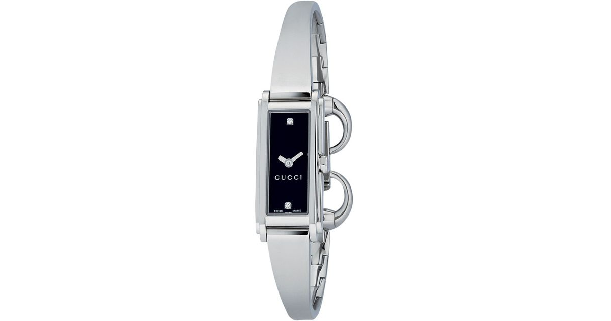 509b8b1be25 Gucci Women s G-line Oblong Diamond Stainless Steel Bangle Strap Watch in  Metallic - Lyst