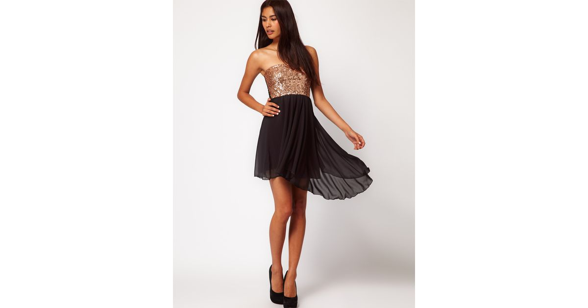 b573a9d3aca Lyst - ASOS Sequin Bandeau Dress with Chiffon Skirt in White