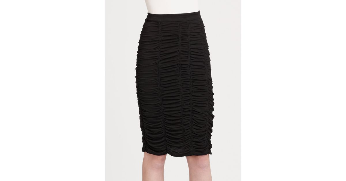 Burberry Knee Length Ruched Skirt in Black | Lyst