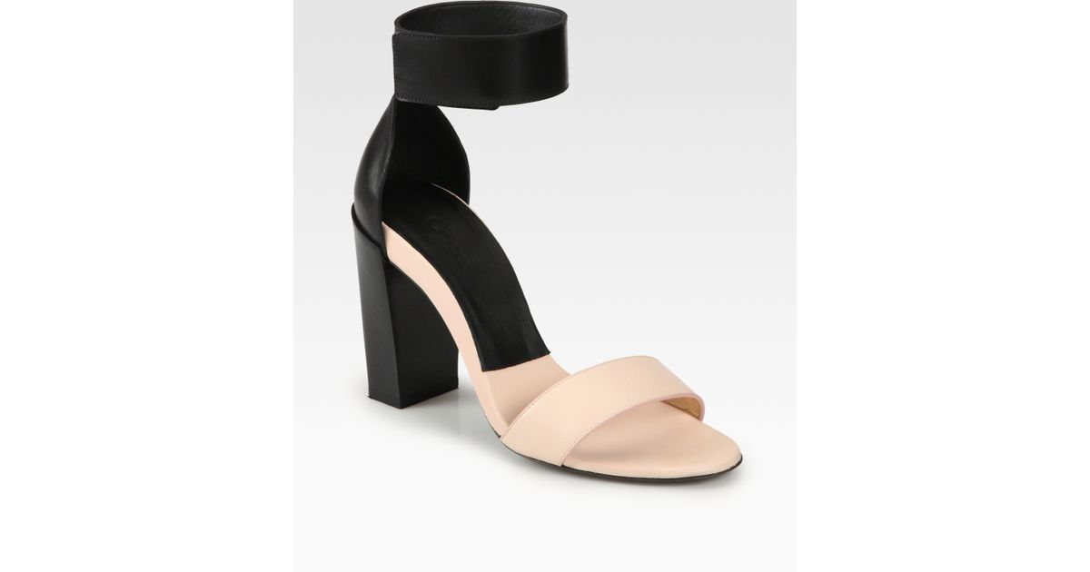 b494a636d22 Lyst - Chloé Bicolor Leather Ankle Strap Sandals in Black