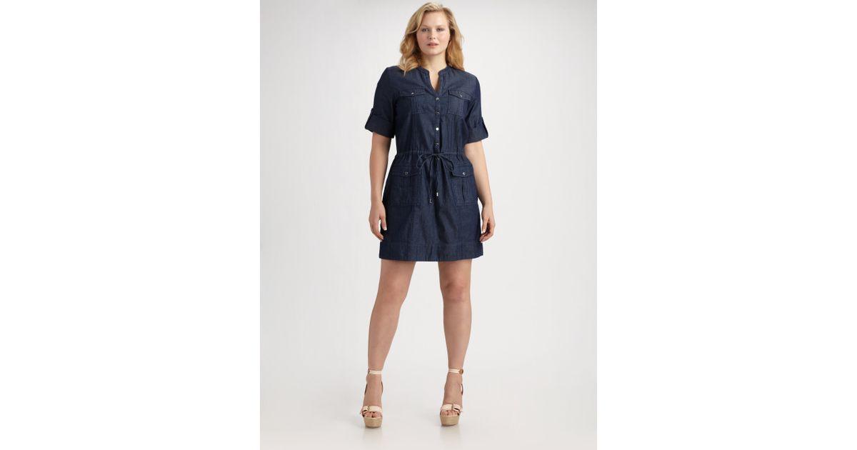 3cfed6dfc703c MICHAEL Michael Kors - Blue Denim Shirt Dress - Lyst