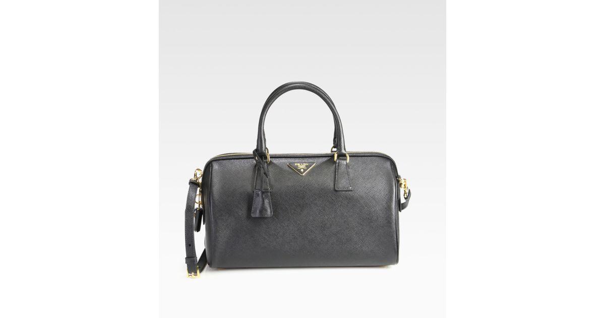 29bfc034072 Lyst - Prada Convertible Saffiano Lux Boston Bag in Black