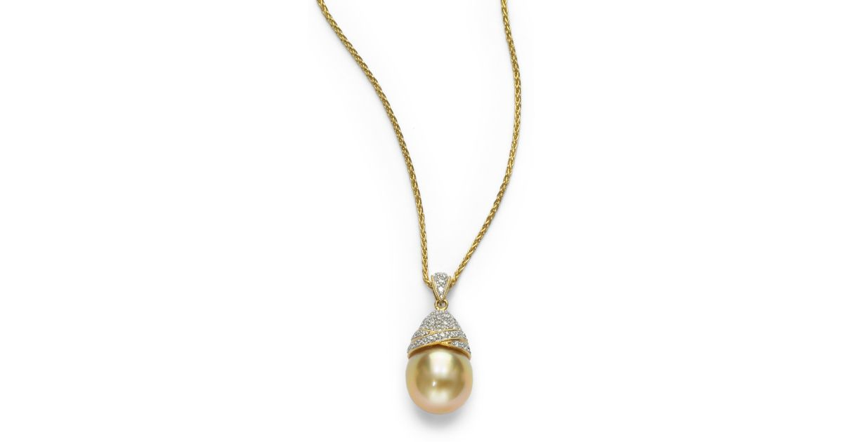 Lyst tara pearls 14mm gold round pearl diamond 18k gold pendant lyst tara pearls 14mm gold round pearl diamond 18k gold pendant necklace in metallic aloadofball Images