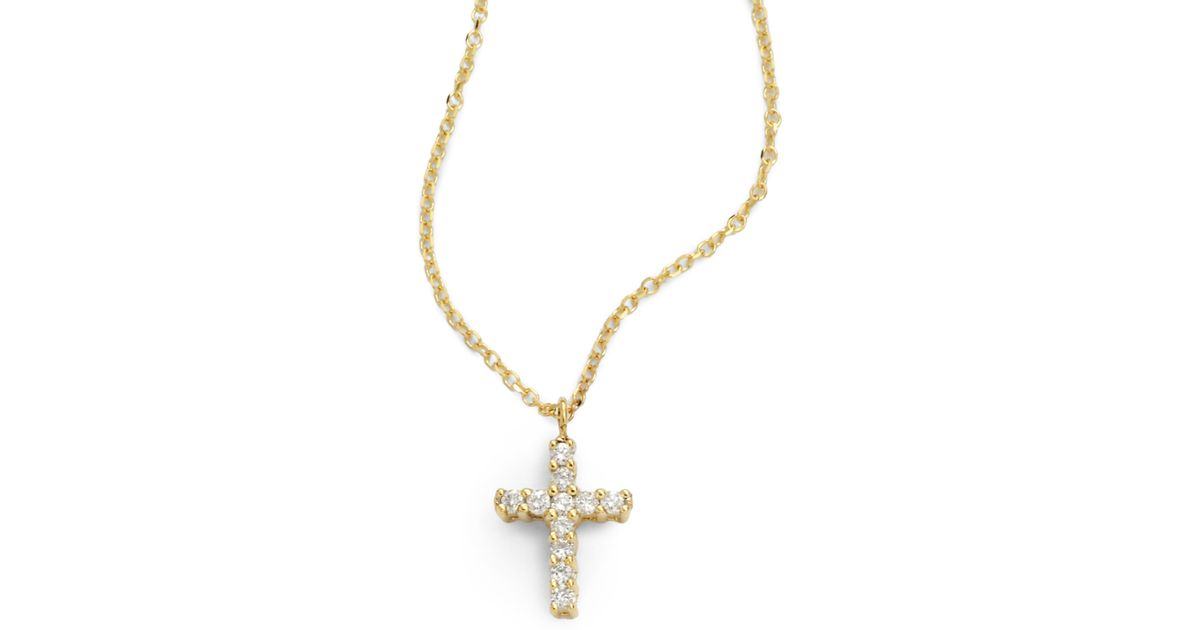 Lyst kc designs small diamond cross necklace in metallic aloadofball Image collections