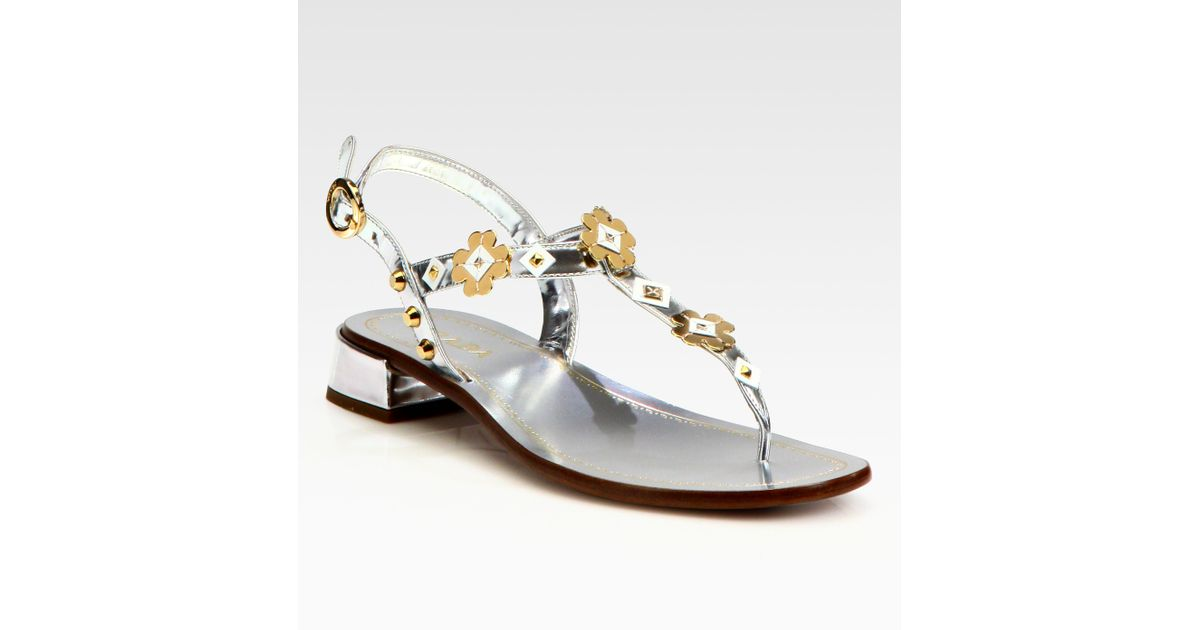 5389bd2491a4 Lyst - Prada Metallic Leather Flower Appliqu233 Thong Sandals in Metallic