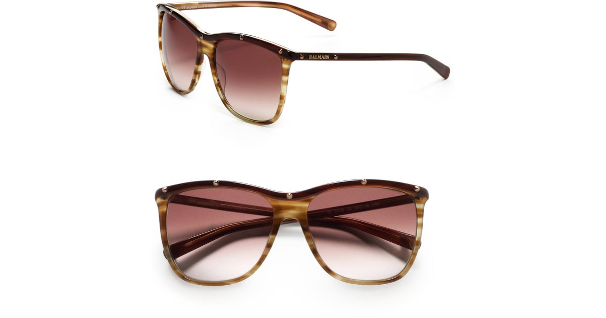 825740dd1b Lyst - Balmain Rounded Square Studded Acetate Sunglassesbrown in Brown
