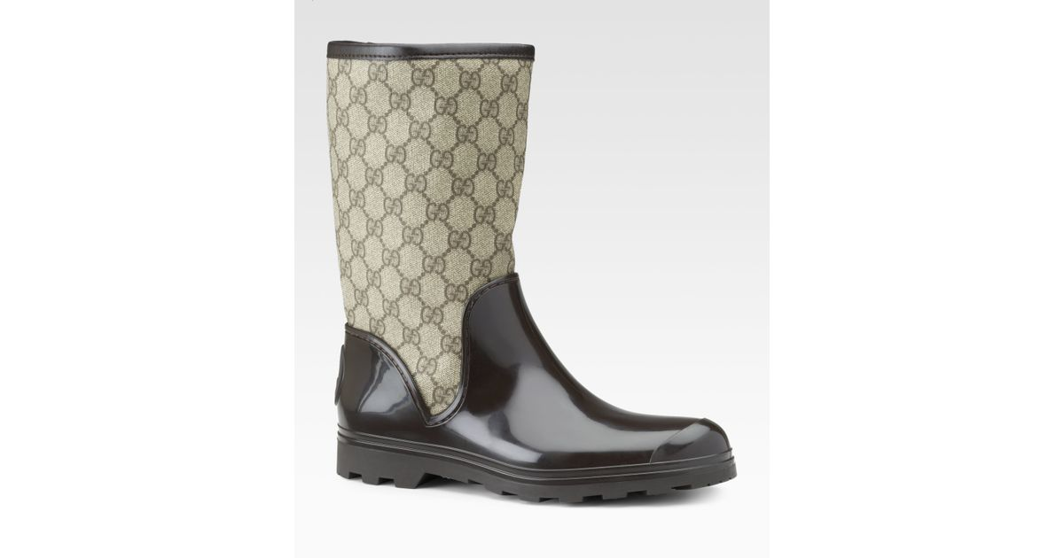 763762ad18c Lyst - Gucci Prato Flat Rainboots in Brown