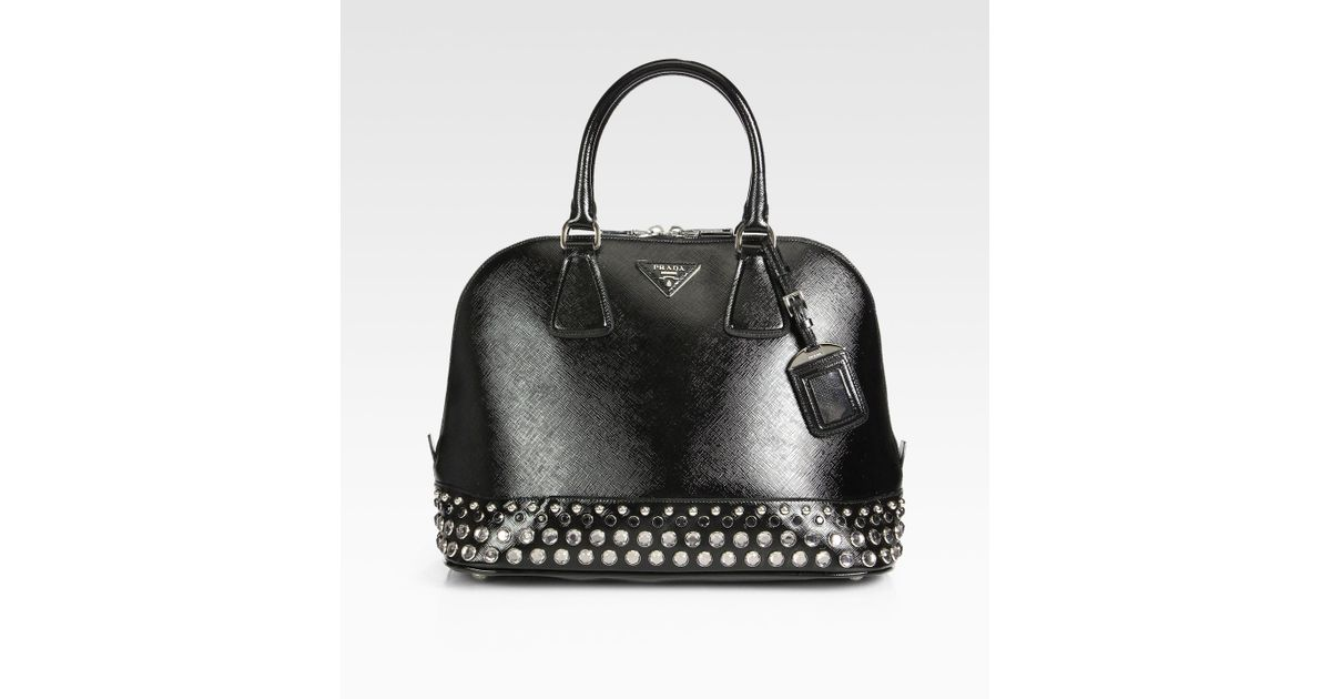 Prada Saffiano Vernice Embellished Medium Promenade Top Handle Bag ...