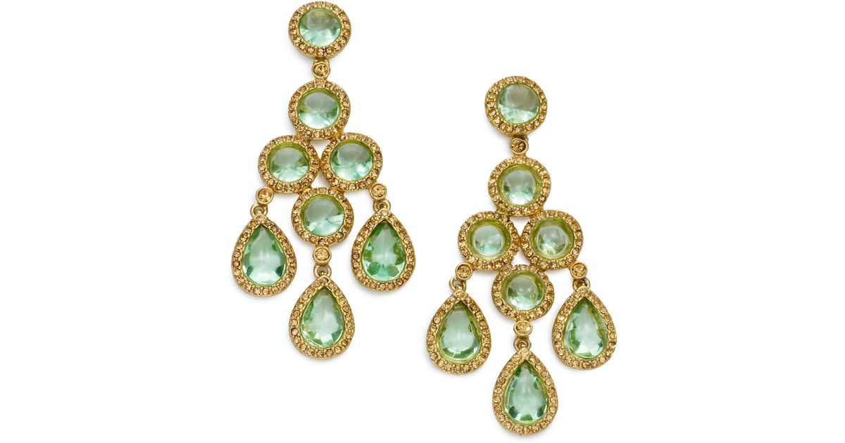 Lyst carolee chandelier earrings in green mozeypictures Image collections