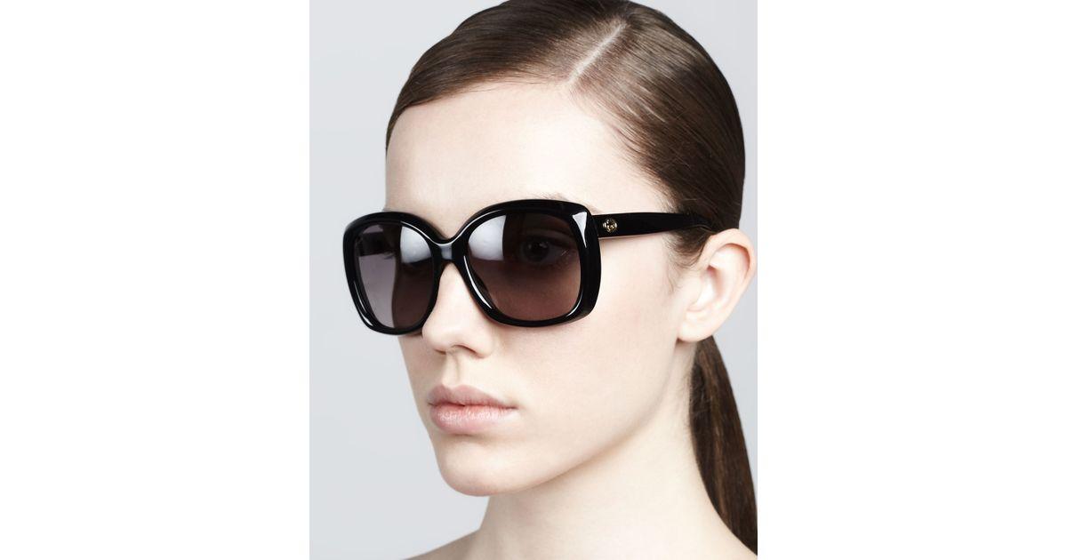 bda73633fd8bf Gucci Plastic Square Sunglasses in Black - Lyst
