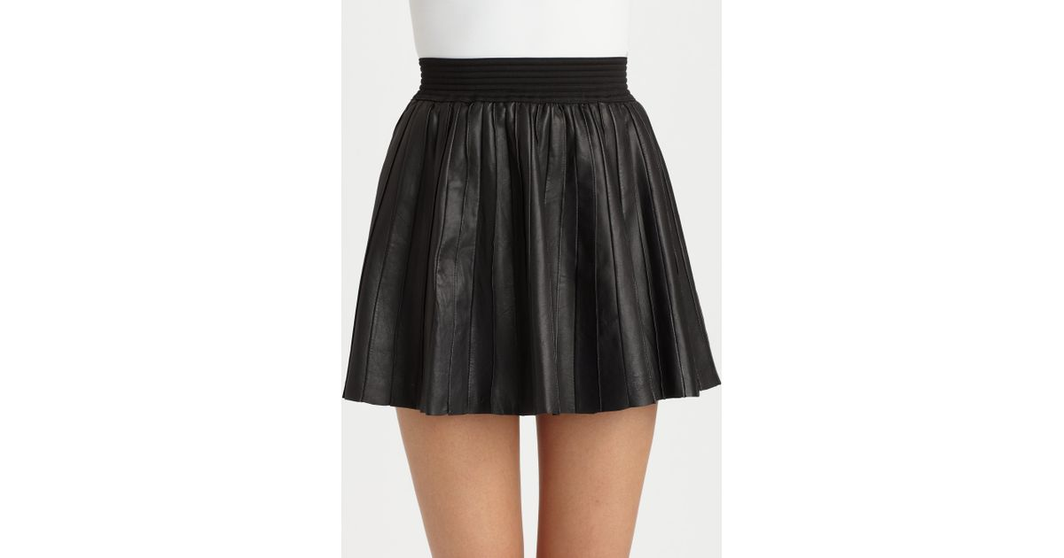 419aecd0ba Parker Leather Pleated Skirt in Black - Lyst