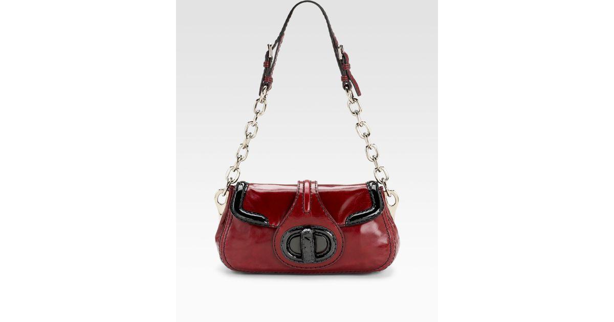 Prada Vitello Shine Shoulder Bag in Red (black) | Lyst