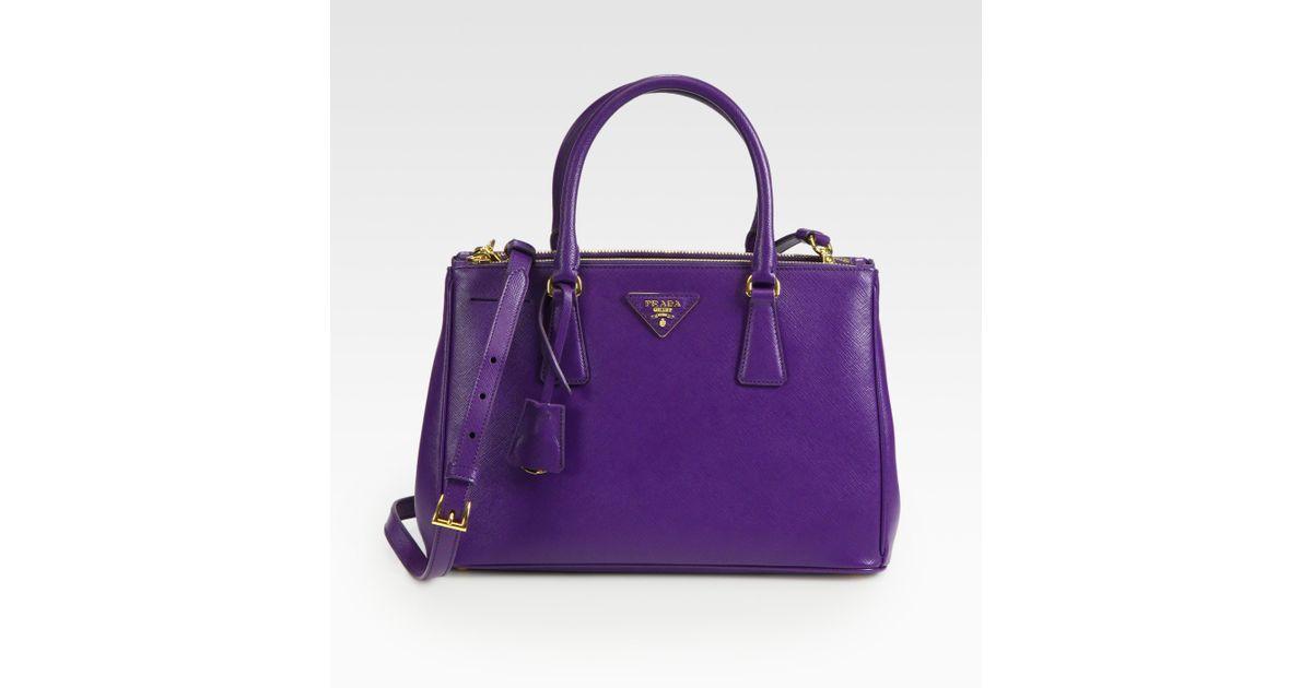 Prada Saffiano Lux Small Tote in Purple (viola) | Lyst