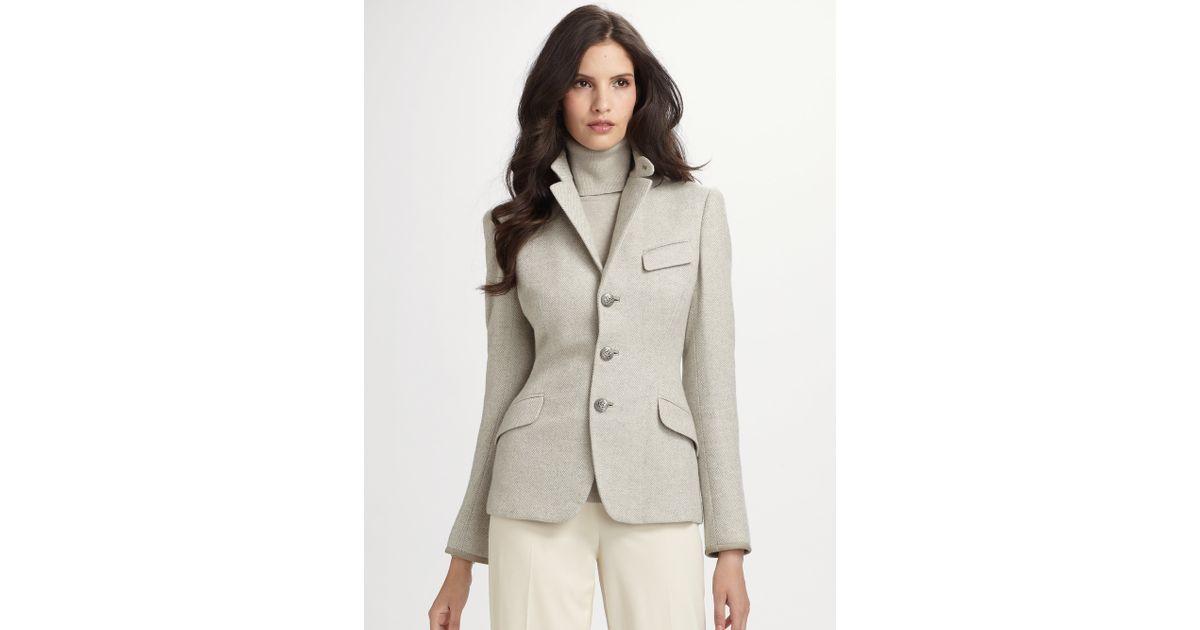 003b35f6bf15c Ralph Lauren Black Label Vivien Herringbone Jacket in Gray - Lyst