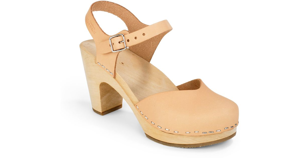 3cf2390257fa Lyst - Swedish Hasbeens Covered Super High Wood Clog Sandals in Natural