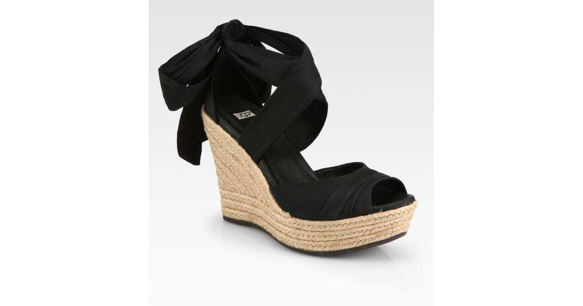 0cccfdd98db Lyst - UGG Lucianna Silk Leather Espadrille Wedges in Black