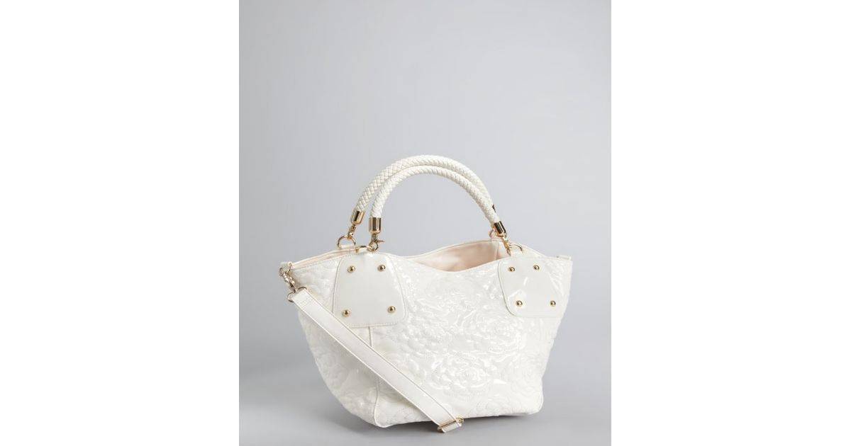 Lyst Buddha White Fl Sched Faux Patent Leather Flora Shoulder Bag In