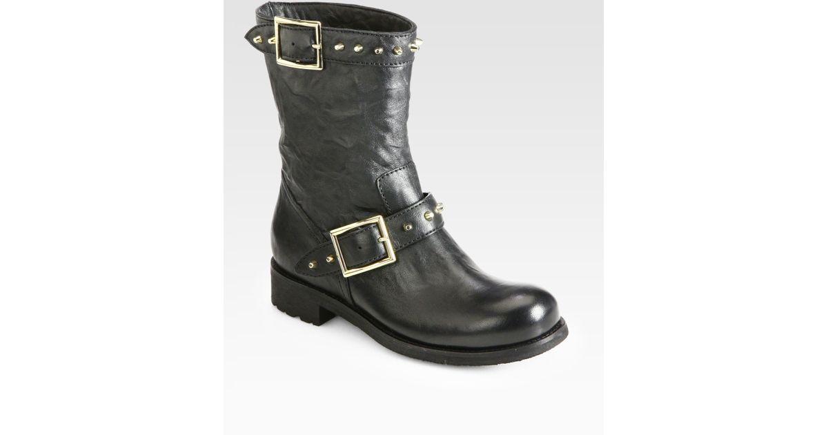 1e5b9483e41 ... shopping lyst jimmy choo dash studded leather biker boots in black  a4268 e3ce1
