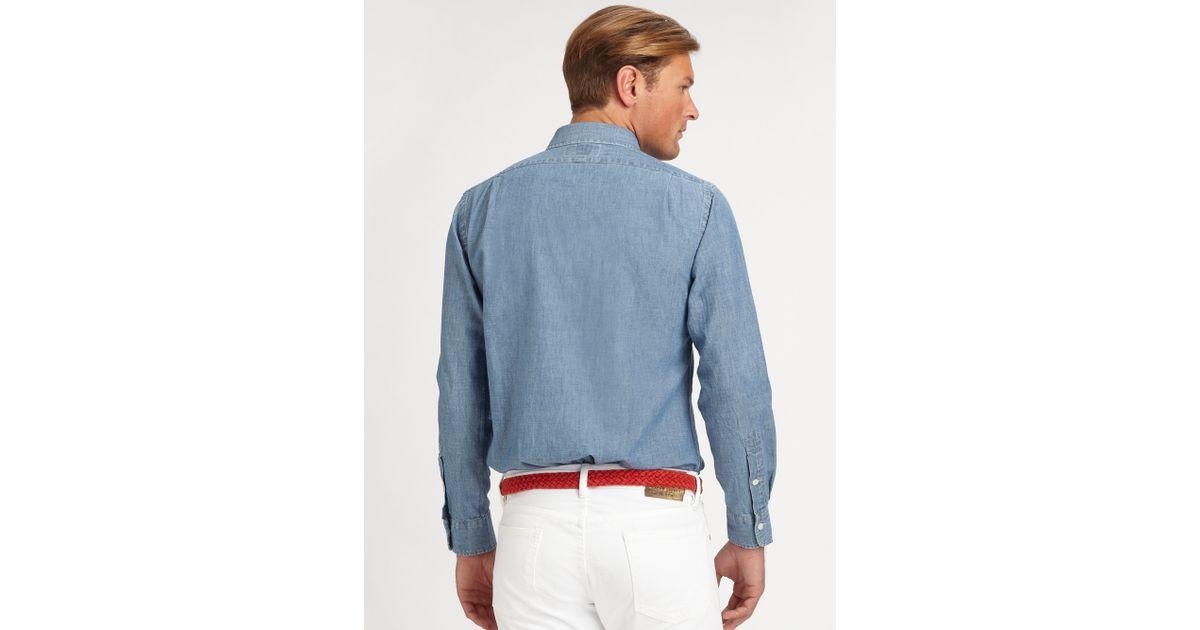 4de03c74f2 Polo ralph lauren Custom Tab Chambray Sportshirt in Blue for Men   Lyst