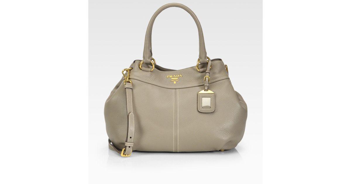 7b48a5d30485 Prada Vitello Daino Top Handle Bag in Natural - Lyst