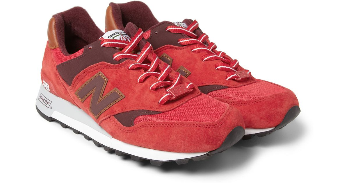 lyst new balance 577 country fair nubuck and leather sneakers in red for men