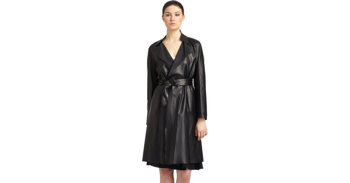 Lyst - Giorgio Armani Lightweight Leather Trench Coat in Black