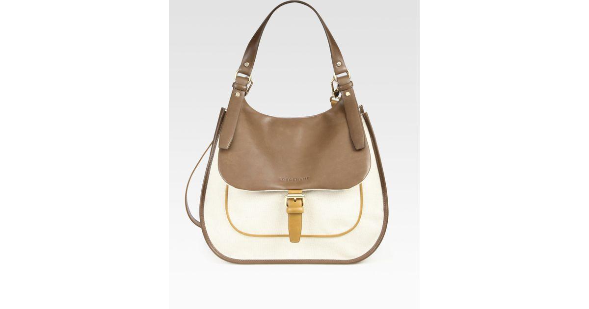 8ac81eb861f Lyst - Longchamp Balzane Leather Linen Hobo Bag in Brown