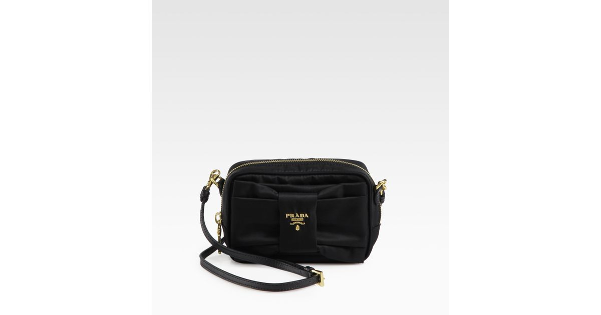 8495a28cce8 ... wholesale lyst prada tessuto bow detail cross body bag in black a6028  2cb72