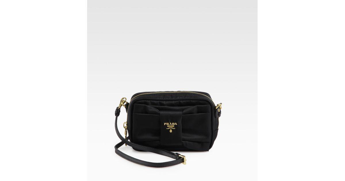 Prada Tessuto Bow-Detail Cross-Body Bag in Black - Lyst e40badab28