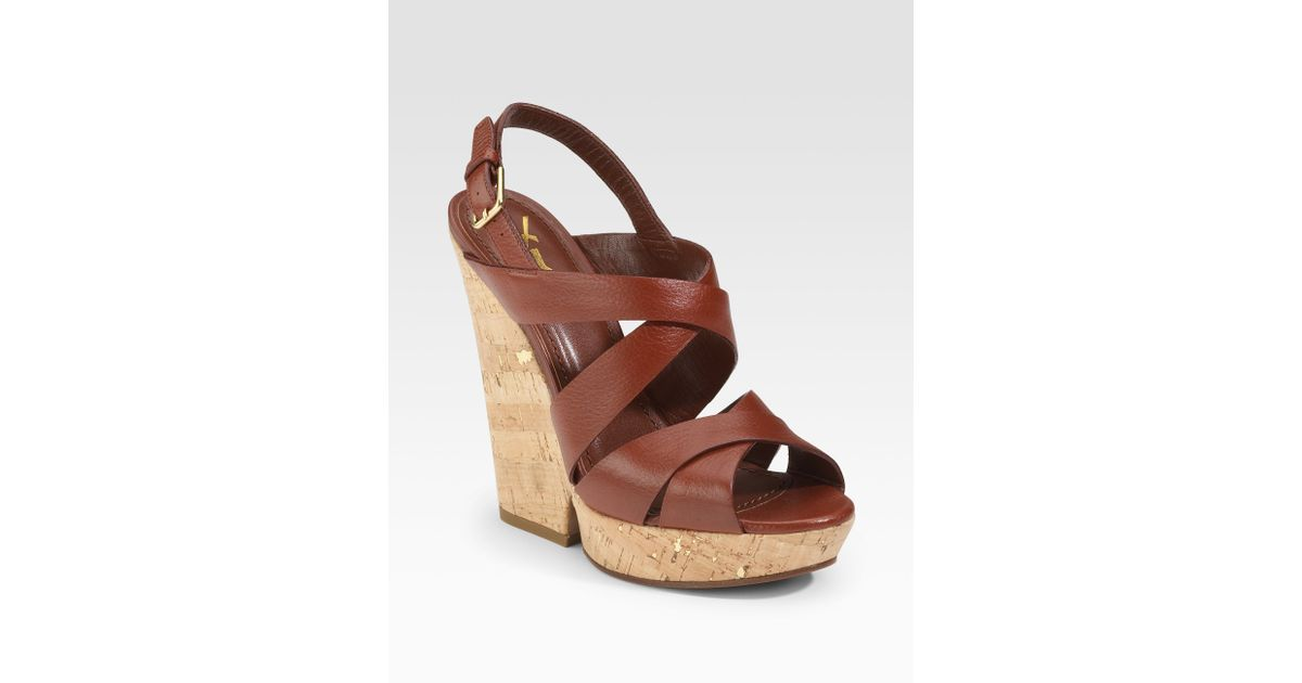 Lyst - Saint Laurent Deauville Strappy Wedge Sandals in Brown d42ff871b8