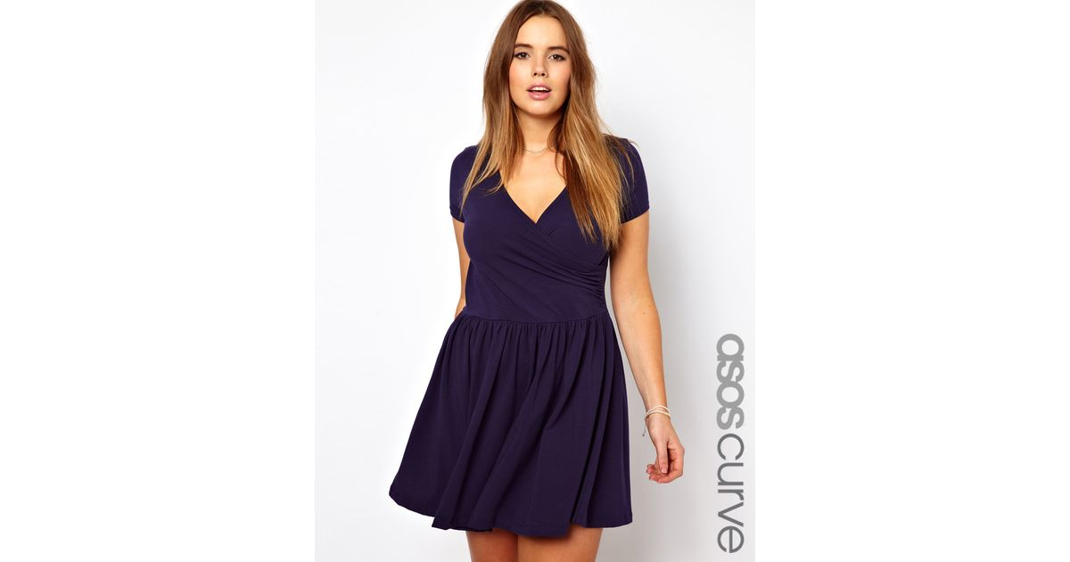 135acc8f40 Lyst - ASOS Curve Exclusive Skater Dress with Ballet Wrap and Short Sleeve  in Blue