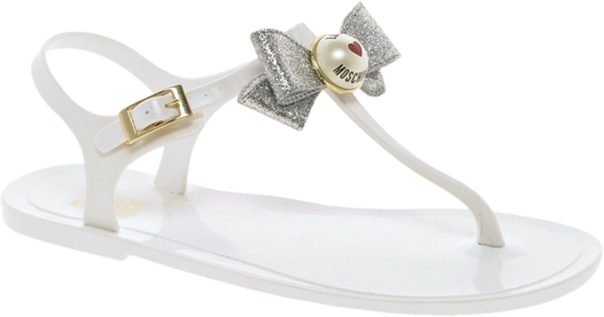 33cd3d7ef9c4 Lyst - Love Moschino White Jelly Flat Sandals in White
