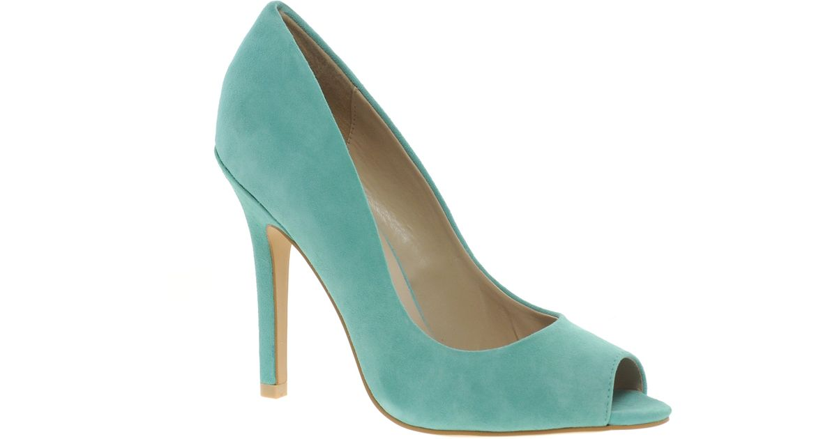 353dd2fe4f9 Lyst - Miss Kg Coco Suede Peep Toe Shoes in Green
