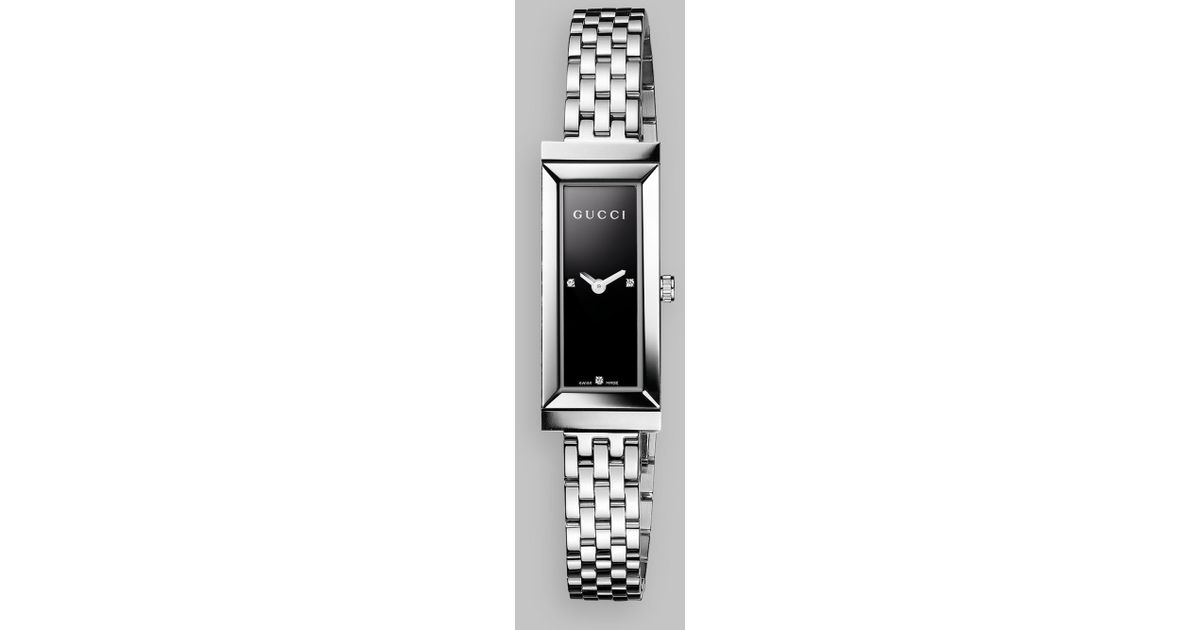 Gucci G Frame Diamond & Stainless Steel Rectangle Watch Black in