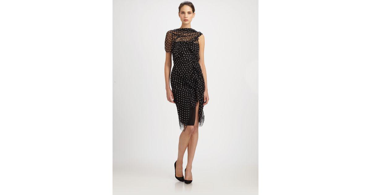 05967d0f2b Lyst - Nina Ricci Silk Dot Dress in Black