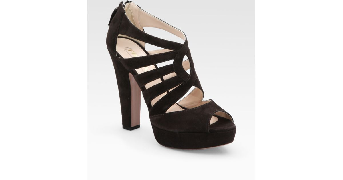 7f7eaba83a7 Lyst - Prada Suede Multistrap Platform Sandals in Brown