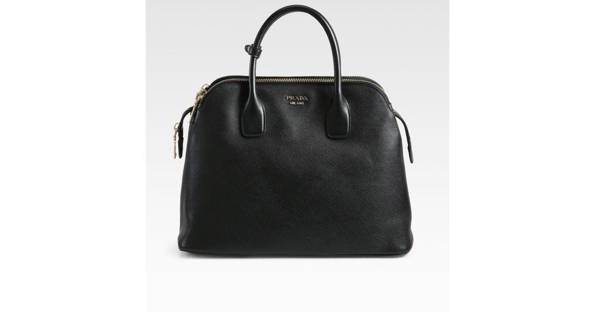 Lyst - Prada Saffiano Cuir Medium Triple Zip Top Handle Bag in Black deffcd2c5e