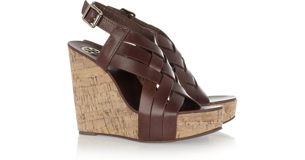 3b80fff9cb04 Lyst - Tory Burch Ace Wedge Sandals in Brown